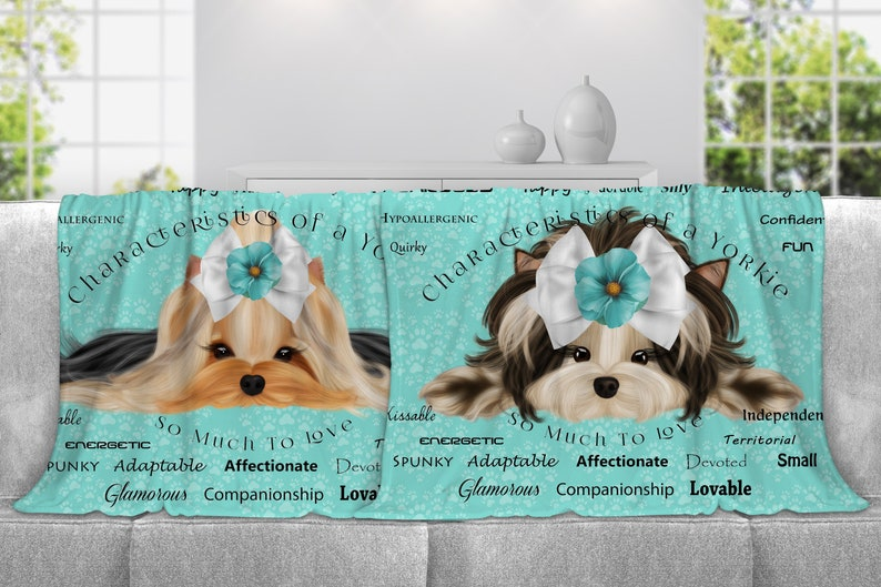 Yorkie  Personalized Minky Throw Blanket Fleece Blanket image 0
