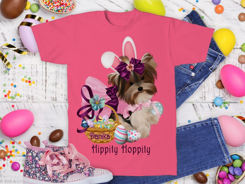 Easter Yorkie Bunny Shirt Easter Gifts Yorkie Mom Gift image 0