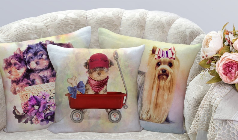 Yorkie Throw Pillows Personalized Pillows Yorkie Mom Gifts image 0