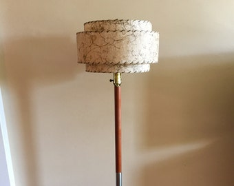 mid century modern teak floor lamp with fibreglass lamp shade - Mid Century Modern Floor Lamp