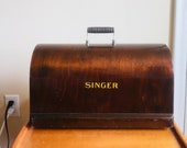 SINGER Sewing Machine Bentwood Case. 1930s SINGER Wooden Cover. SINGER Wooden Cover.