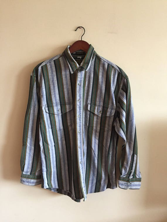 Vintage Men's Eddie Bauer McKinley Cloth Flannel Long Sleeve Button up Shirt Cotton Size Large. Made in USA
