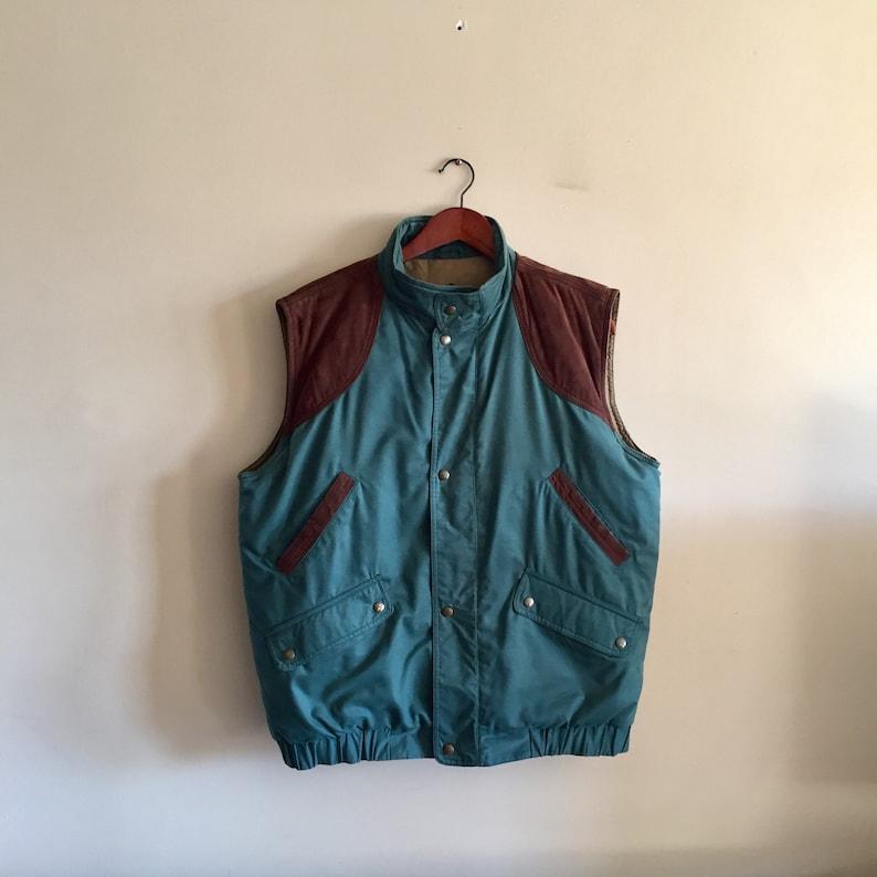 dfc6165eaae Eddie Bauer Leather Suede Down Vest. Puffer Vest.