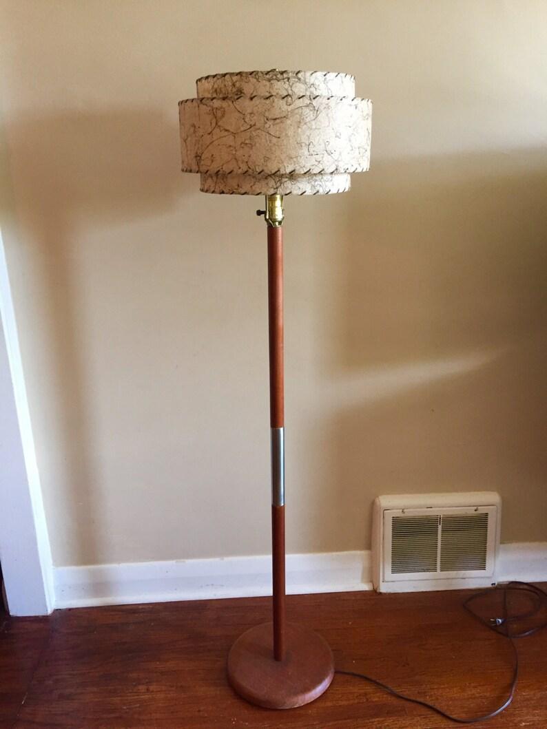 Mid Century Modern Teak Floor Lamp With Fibreglass Lamp Shade