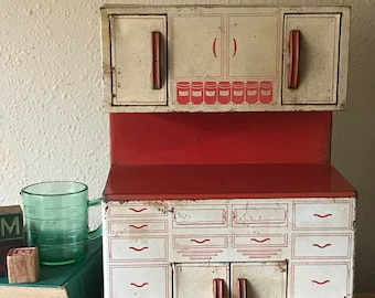 Vintage Wolverine Metal Toy Kitchen Cabinet Spices Coffee Tea Red Chippy  Patina