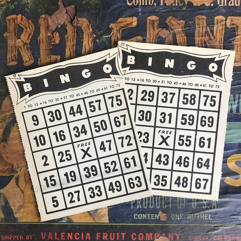 Vintage Bingo Cards Red Blue Black Ephemera Junk Journal Crafting Set of Six