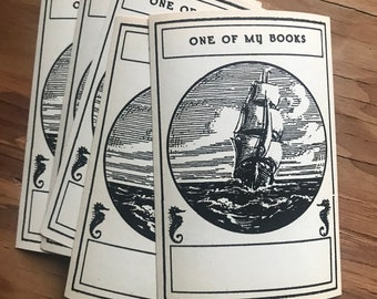 Set of Five Vintage Book Plates Bookplates One of My Books Personal Library Ocean Ship Seahorses