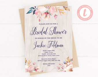 Rustic Floral Bridal Shower Invitation, Editable Template, 5x7 Rustic Barn Wood Invite, Rustic Boho Printable, DIY Templett Instant Download