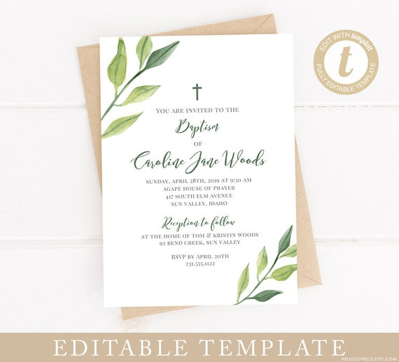 EDITABLE Baptism Invitation 5x7 Template Christening Invite Green Leaves First Communion DIY Templett Edit Yourself Instant Download