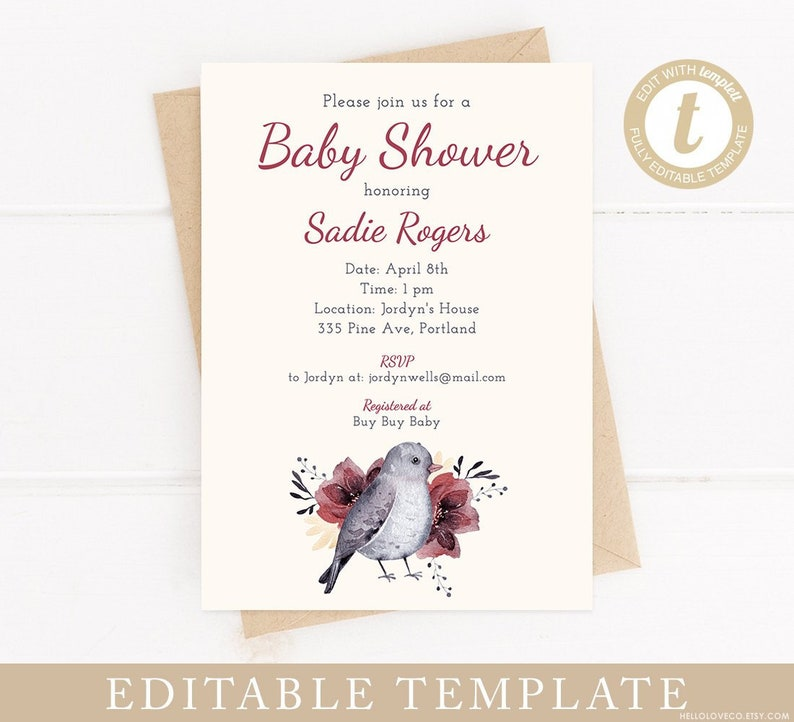 Editable Baby Shower Invitation Template Baby Shower Invite Woodland Animal Winter Bird Pdf Digital File Diy Edit With Templett
