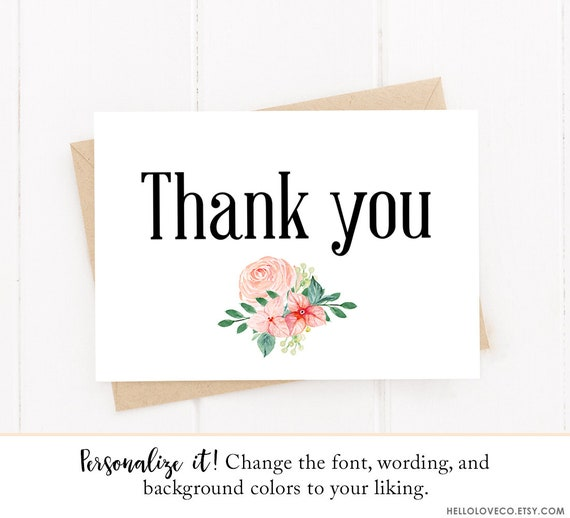 Editable Floral Thank You Folded Card Template Baby Shower Etsy