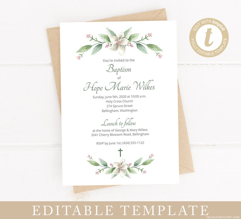 EDITABLE Baptism Invitation Template Christening Invite White Flowers And Leaves Confirmation Templett Edit Yourself Instant Download
