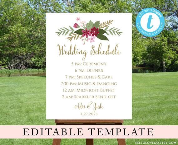 Editable Wedding Schedule Template Custom Wedding Order Of Etsy