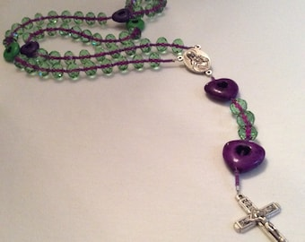 Purple and green rosary