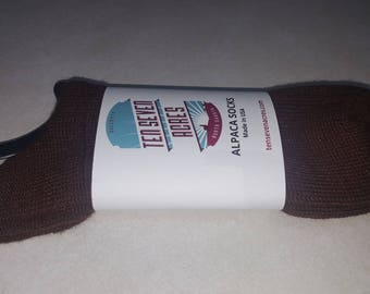 Alpaca socks from Ten Seven Acres by Joy and Cash, Brown, Large Crew