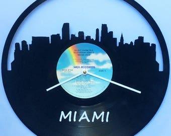 Miami Skyline Vinyl Record Clock Miami Vice