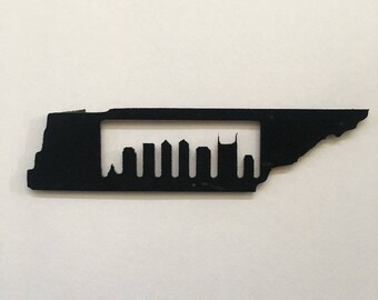 Tennessee Nashville Skyline Repurposed Vinyl Magnet