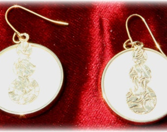 White and Gold Disc Style Dangle Earrings