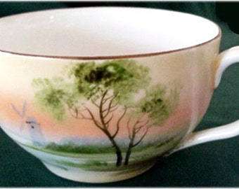 Nippon Japan Hand Painted Porcelain, Bone china Cup and Saucer, Rising Sun Pattern