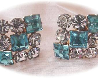 Blue and Crystal Rhinestone Earrings GF 1/20 - 12kt, Marked P & F