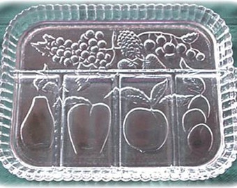Indiana Crystal Glass Oblong Relish Tray Dish