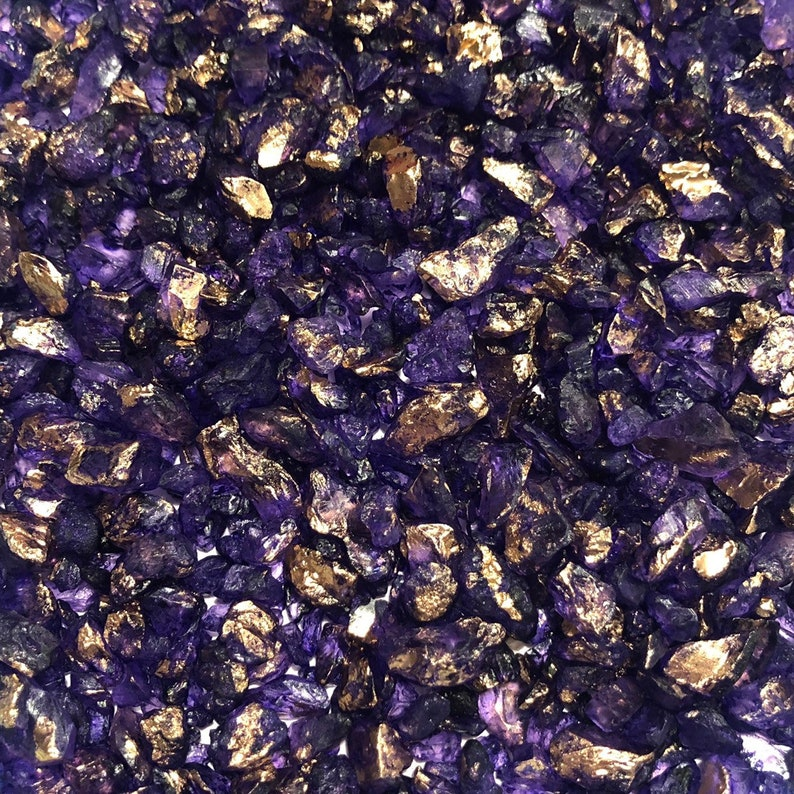 Edible Royal Purple Geode Rock Candy Sprinkles  Metallic Gold Gilded Candy Crystals