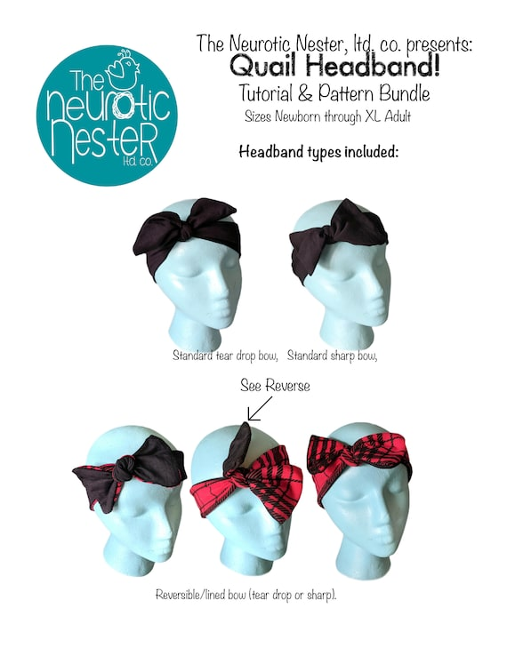 A4 Quail Headband Pdf Sewing Pattern And Tutorial Knotted Bow Etsy