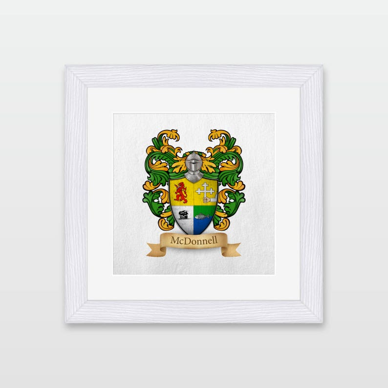 Irish Origin McDonnell family coat of arms framed print