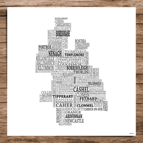 Tipperary Typographical Map Of County Tipperary Ireland Etsy