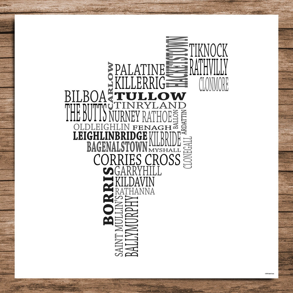 Carlow Typographical Map Of County Carlow Ireland Etsy