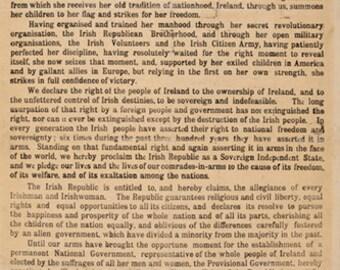 1916 Proclamation of the Irish Republic - Reproduction - 1916 Rising Ireland - Independence - Historic Ireland - Irish