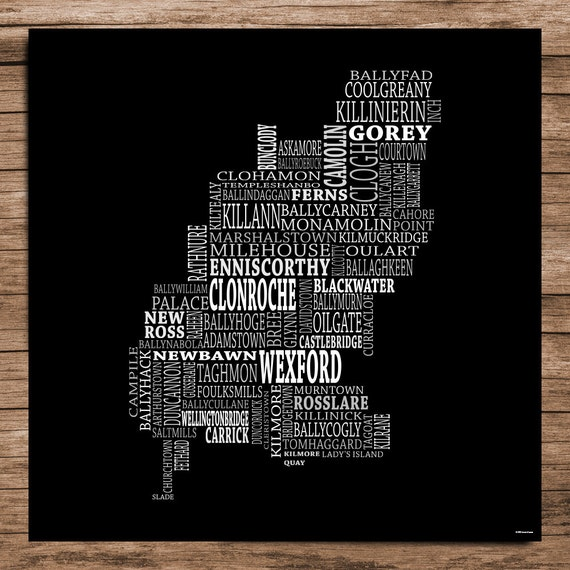 Wexford Typographical Map Of County Wexford Ireland Etsy