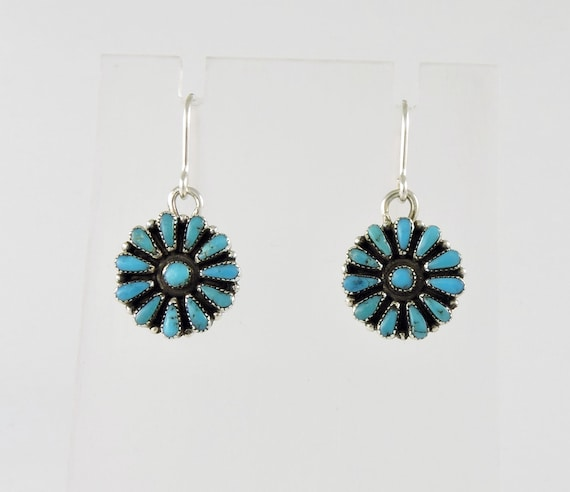 Dainty Zuni Turquoise and Silver Dangle Earrings
