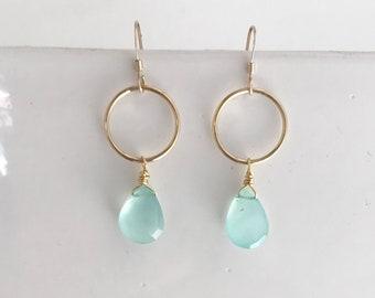Gemstone and Gold Hoop Earrings / Chalcedony Earrings/ Hoop Earrings