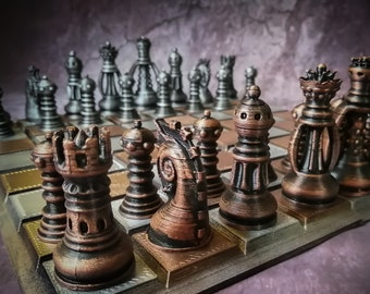 Steampunk Fantasy Chess Set - Hand Painted Board Game