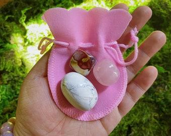 Self-Care Crystal Starter Kit   Rose Quartz, Mookaite, Howlite