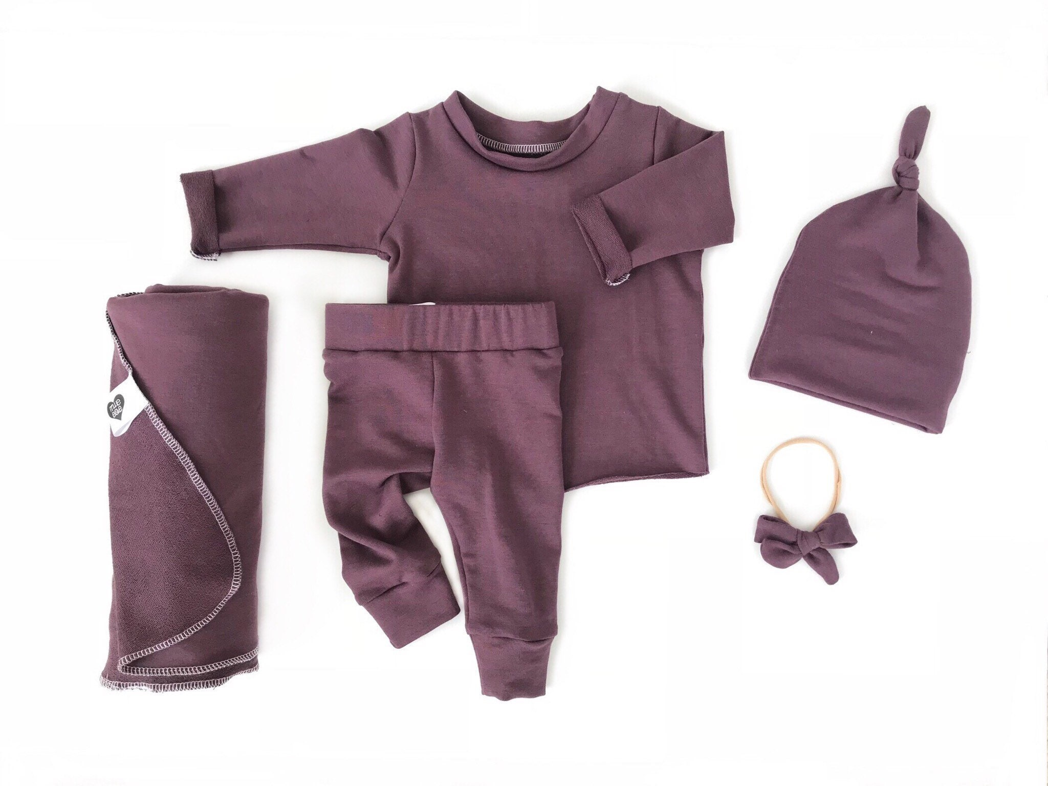 80458feef191 Plum newborn girl coming home outfit baby girl coming home