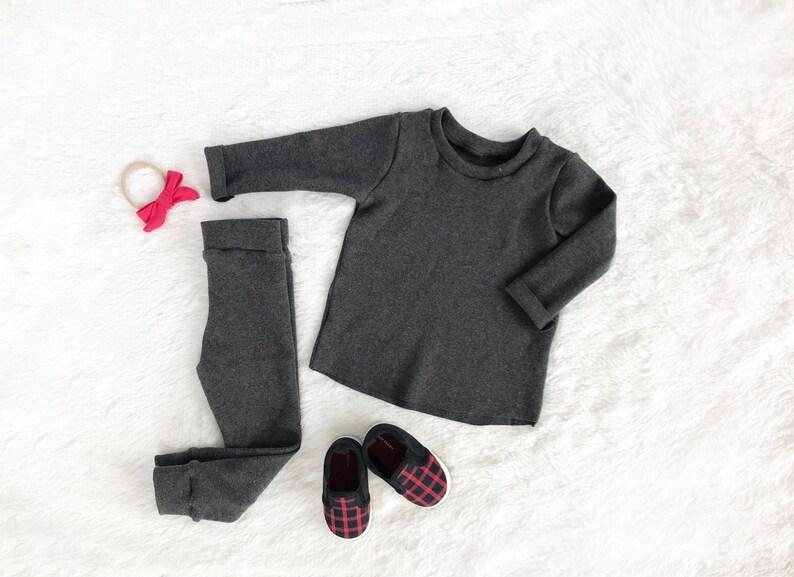 e456d4d0f062 Ribbed charcoal gray kids clothing set  unisex newborn