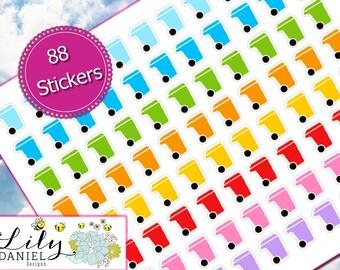 88 Trash Can Bin Garbage Planner Stickers for Erin Condren Life Planner (ECLP) Reminder Sticker LDD1083
