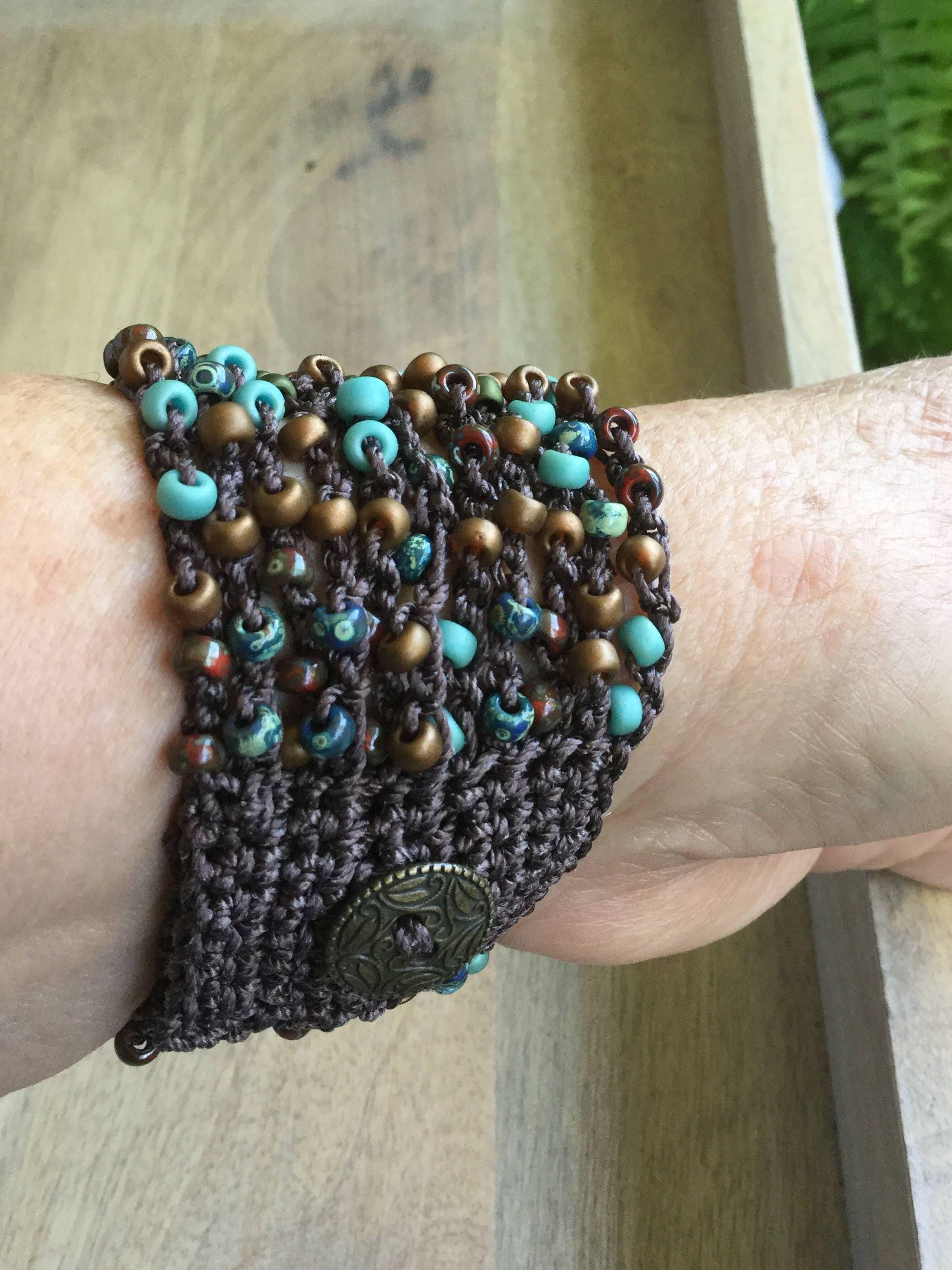 Multi Color Seed Bead Crochet Boho Cuff Bracelet