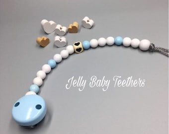Personalised Baby Blue Mickey Mouse Sparkle Dummy Clip