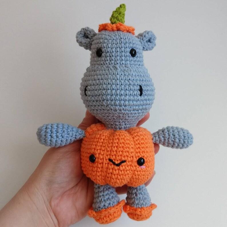 Halloween pumpkin hippopotamus amigurumi doll softies PDF crochet pattern Hallowippo