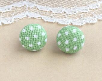 Sage Polka Dot Fabric Stud Earrings, Green Polka Dots, Polka Dot Earrings, Fabric Earrings, Stud Earrings, Button Earrings, Simple Earrings