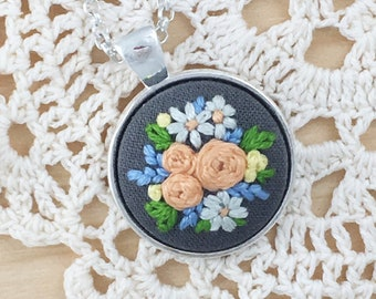 Gray Spring Embroidered Necklace, Embroidered Flowers, Flower Necklace, Embroidered Pendant, Mother's Day Gift, Summer Pendant