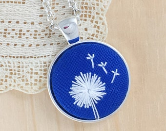 Blue Dandelion Hand Embroidered Necklace, Floral Necklace, Dandelion Pendant, White Wishing Flower, Dandelion Embroidery
