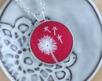 Hot Pink Dandelion Hand Embroidered Necklace, Floral Necklace, Dandelion Pendant, White Wishing Flower, Dandelion Embroidery