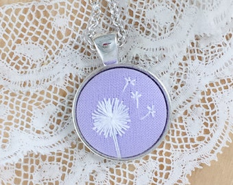 Lavender Dandelion Hand Embroidered Necklace, Floral Necklace, Dandelion Pendant, White Wishing Flower, Dandelion Embroidery
