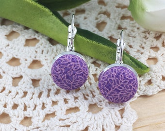 Lavender And Pink Leaf Print Fabric Lever Back Earrings, Purple Drop Earrings, Purple Flowers