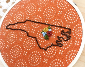 Rusty Orange Raleigh Hoop Art, Embroidered North Carolina Outline, State Outline, State Silhouette, Cary, Apex, RDU, Durham, Wake Forest