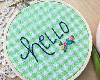 Hello Guestroom Decor, Hello Hoop Art, Embroidery Hoop Art, Entryway Decor, Hello Art, Greeting, Welcome, Green Gingham Fabric, Guest Room